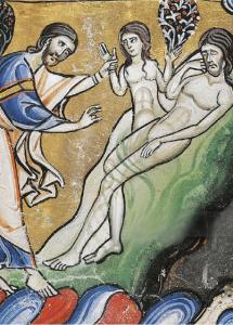 Algunas representaciones pictóricas muestran a Dios creando a Eva con su mano izquierda.
